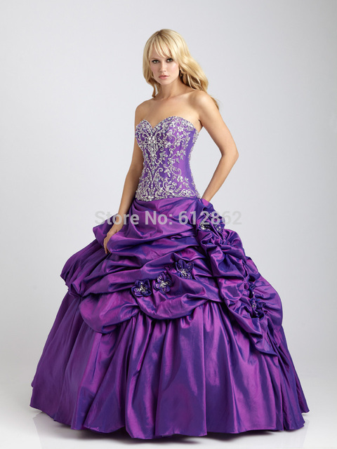 2017 Ruffles Taffeta Skirt Lace Top Ball Gown Long Purple Prom ...