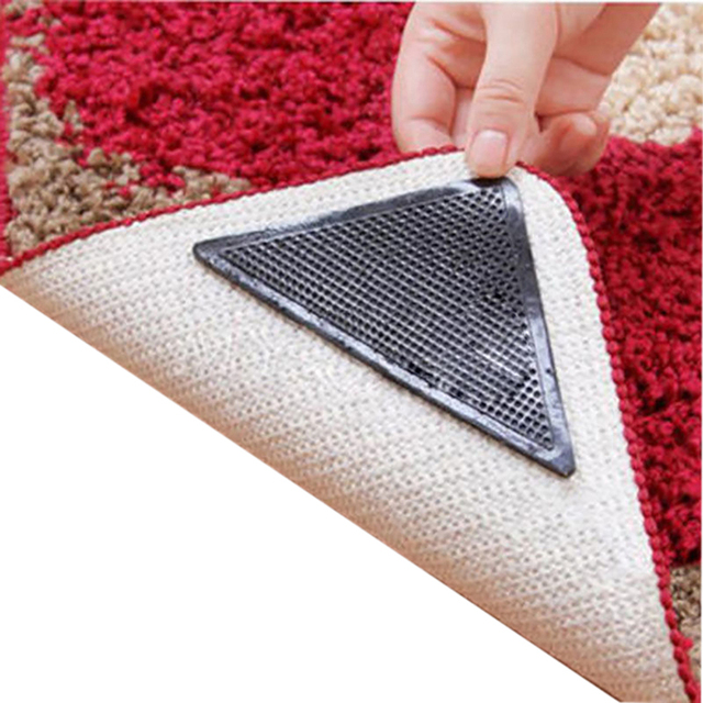 4pcs Rug Carpet Mat Grippers Non Slip Reusable Washable Silicone Grip Home Use