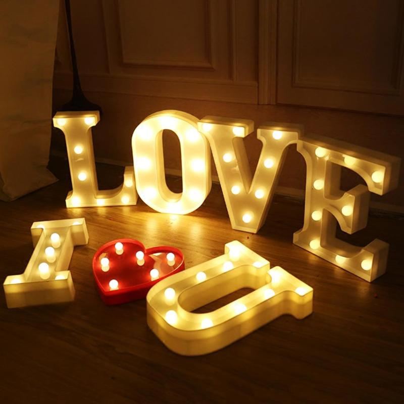 3d Led Night Light Neon Alphabet Lamp 26 Letters Diy Led