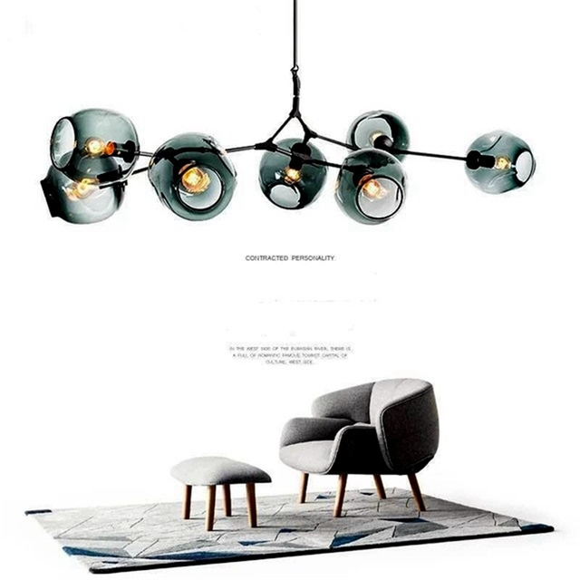 Modern Chandelier Magic Bean Branch Living Room Pendant Lamp Lights Multiple Glass Balls LED Kitchen Hanging Lamp