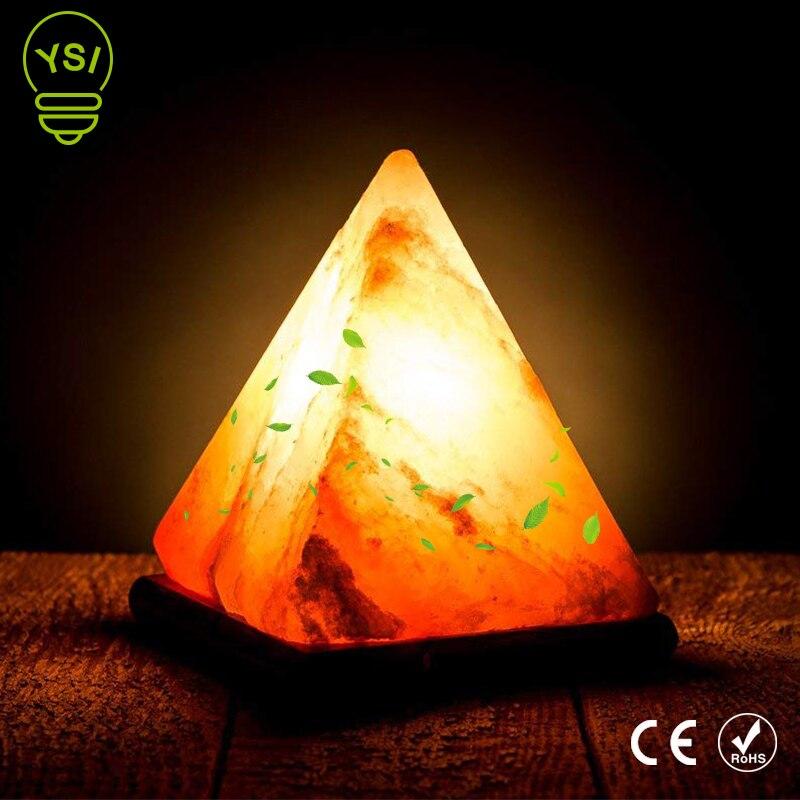 USB Himalayas sel lampe Air purifier rvb rond naturel Triangle cristal roche lampe Base en bois coloré sculpté à la main veilleuse