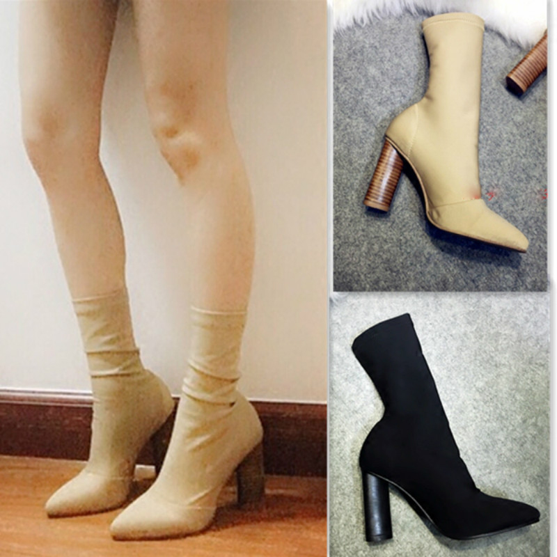 Fashion Ankle Elastic Sock Boots Chunky High Heels Stretch Women Sexy Booties with pointed toe Kardashian Martin boots #41 цена 2017