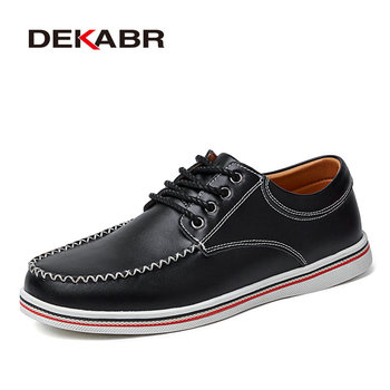 DEKABR Big Size 46 47 New Fashion Men's Casual Shoes Split Leather Men's Shoes Beautifully Hand-Sewn High-Quality Working Shoes
