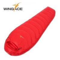 WINGACE Fill 2500G Goose Down Sleeping Bag Camping Accessories Tourism Equipment 400T Nylon Outdoor Mummy Winter Sleeping Bag