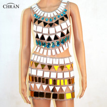 Chran Sonus Festival Outfit Crop Top Chain Bra Harness Necklace Body Lingerie Metallic Bikini Skirt Beach Party Jewelry CRM803 shining knoted front metallic crop top