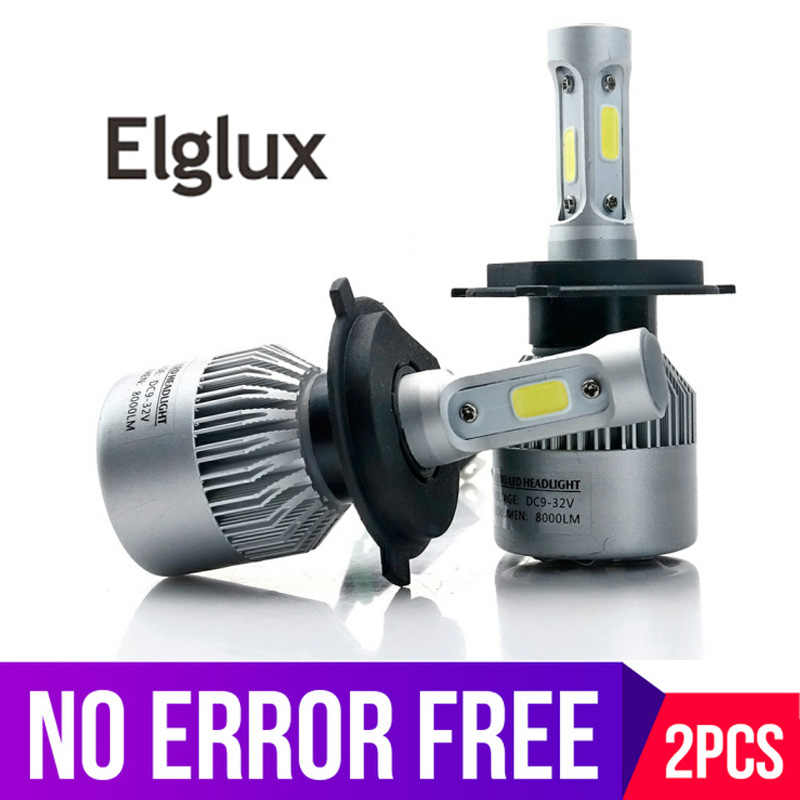 Elglux 2Pcs Auto H4 LED H7 H11 H8 9006 HB4 H1 H3 HB3 Car Headlight Bulbs 72W 8000LM Automobiles Lamp 6500K 12V for Super bright