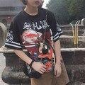 Япония street носить Harajuku стиль лето преувеличение письма печатаются свободные новинка с коротким рукавом Футболки женская одежда топ тис