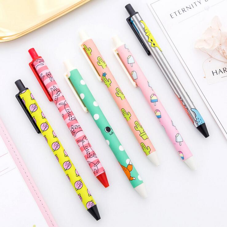 1 Piece Creative Cute Handles Kawaii Cartoon Pen Gel Pens School Chancery Office Cactus Supply Cat Ice Cream
