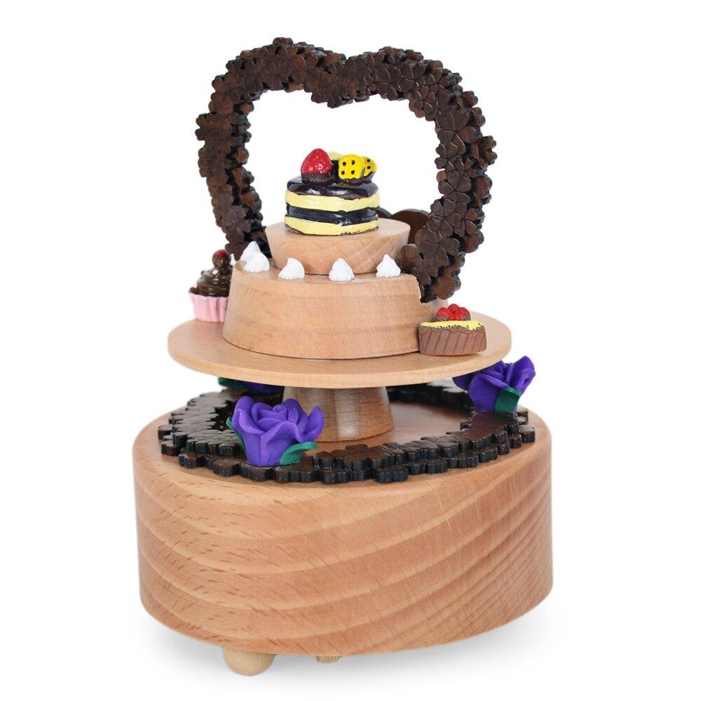 Ameublement et décoration Produits cadeaux de haute qualité Rotation Ferris Wheel Music Box Résine Craft pour gâteau danniversaire ornement-rouge Abats-Jour