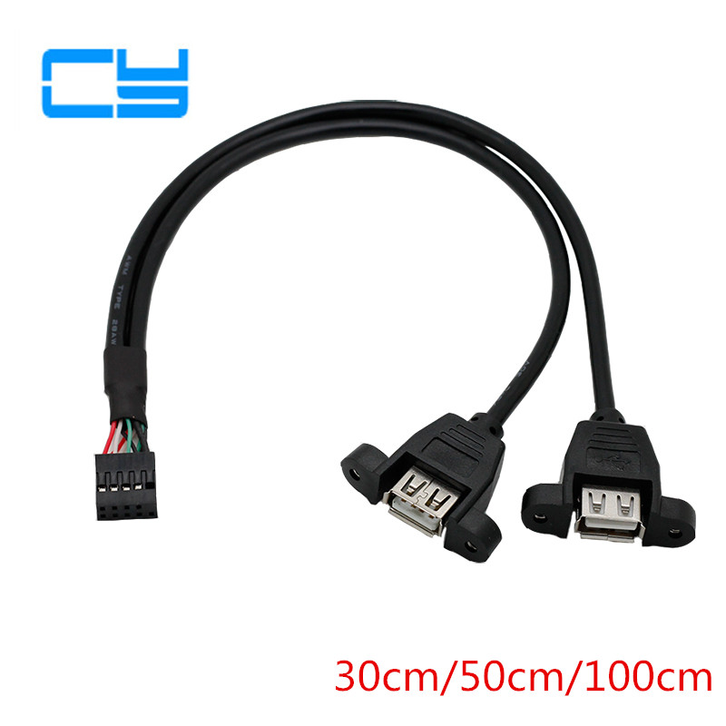 1pcs 30cm Motherboard Internal 9pin Pitch 2.54mm To Dual Port USB 2.0 A Female Screw Lock Panel Mount Cable