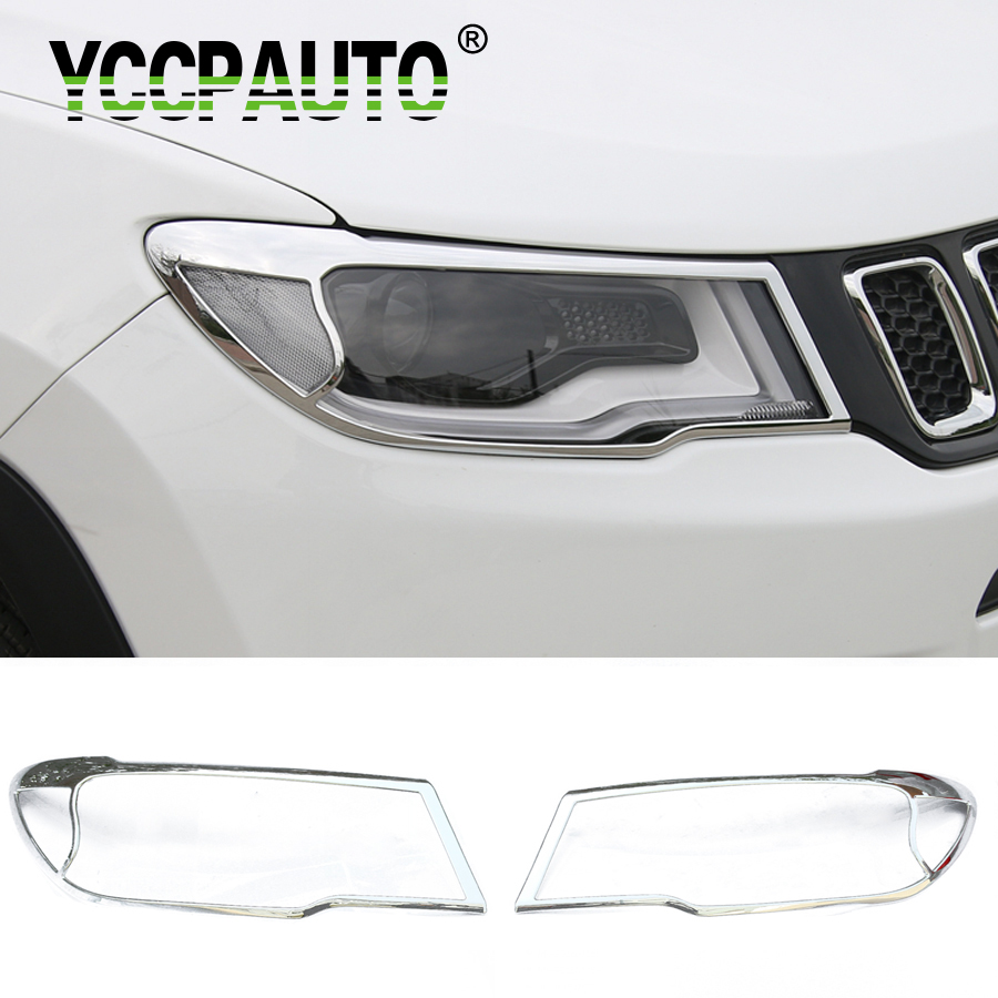 YCCPAUTO Car Styling For Jeep Compass 2017 2018 Front Headlight Lamp Molding Cover Trims Decoration Sticker ABS Chrome 2Pcs