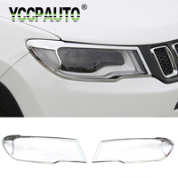 YCCPAUTO Car Styling For Jeep Compass 2017 2018 Front Headlight Lamp Molding Cover Trims Decoration Sticker