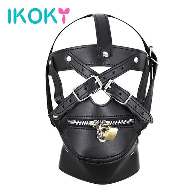 IKOKY SM Bondage Sex Shop Zipper Mouth Adult Games Sex Head Mask Leather Headgear Sex Toys for Couple Erotic Restraints