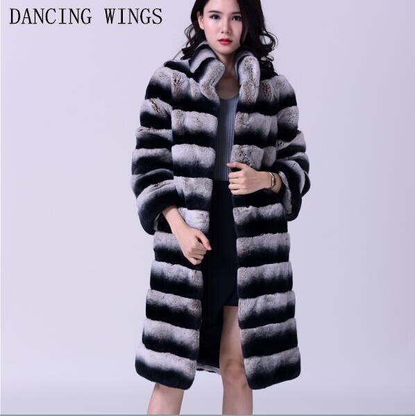 Женская Шуба с натуральным кроличьим мехом, воротник-стойка, натуральный мех, зимняя куртка, длинный стиль, Chinchill, натуральный мех
