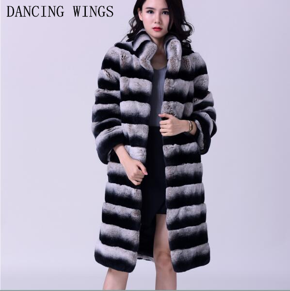 Women s Real Rex Rabbit Fur Coat Stand Collar Natural Fur Winter Jacket Long Style Chinchill