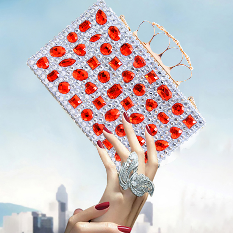 Women Clutch Bags Red Crystal Finger Ring Ladies Evening Bags Diamonds Wedding Bridal Luxury Handbags Purse Small Shoulder Bag diamonds small clutch purse crystal beaded handbags chain shoulder evening finger ring bags for wedding party bag red gold blue
