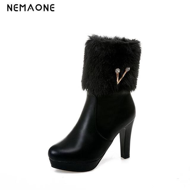 Mode fourrure de neige d'hiver Bottes femme Bottes talons 2017 femmes cheville Bottes hiver chaud chaussures de neige,jaune,34
