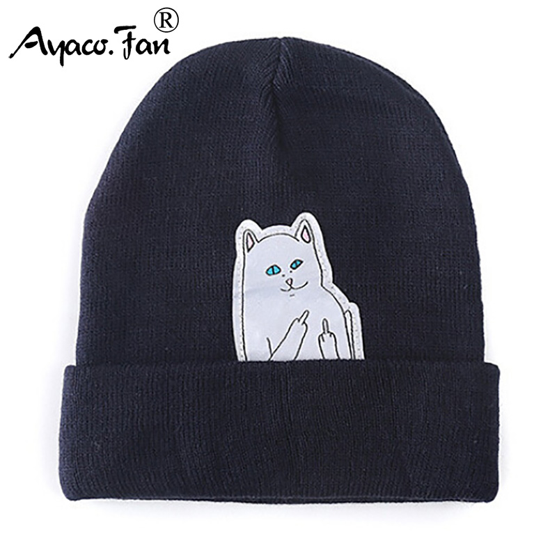 Cat Knit Cap 2019 New   Beanies   Winter Hats for Women Men Knitted Caps Cut Cartoon Casual Fashion Autumn Warm   Skullies     Beanie   Hats