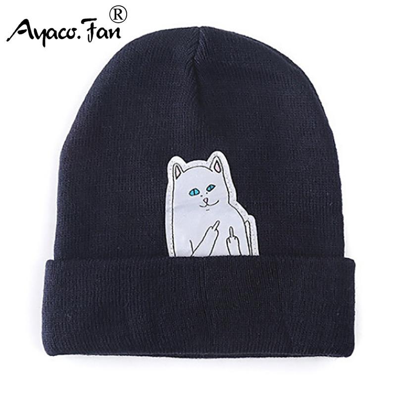 Cat Knit Cap 2019 New   Beanies   Winter Hats for Women Men Knitted Caps Cut Cartoon Casual Fashion Autumn Warm   Skullies     Beanie   Hats