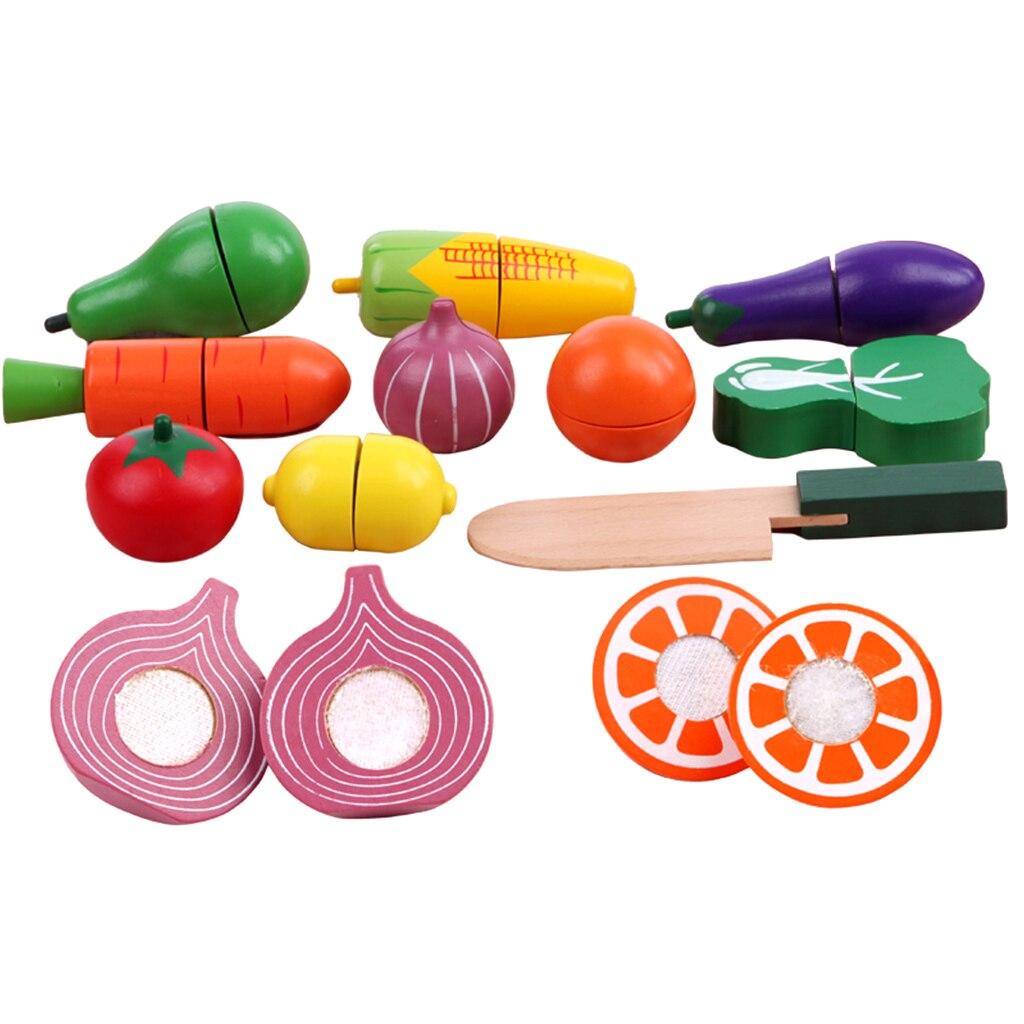 19 шт. Мини Деревянный магнит фрукты овощи Еда резки роль играют дети дошкольного притворяться, играть в игрушки