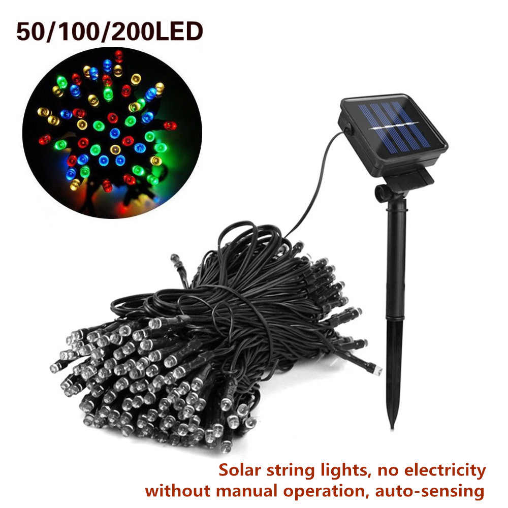 Solar LED String Lights Outdoor Waterproof Fairy Holiday Lamp Christmas Party Garlands 50/100/200 LEDs Solar Garden Decor Lights