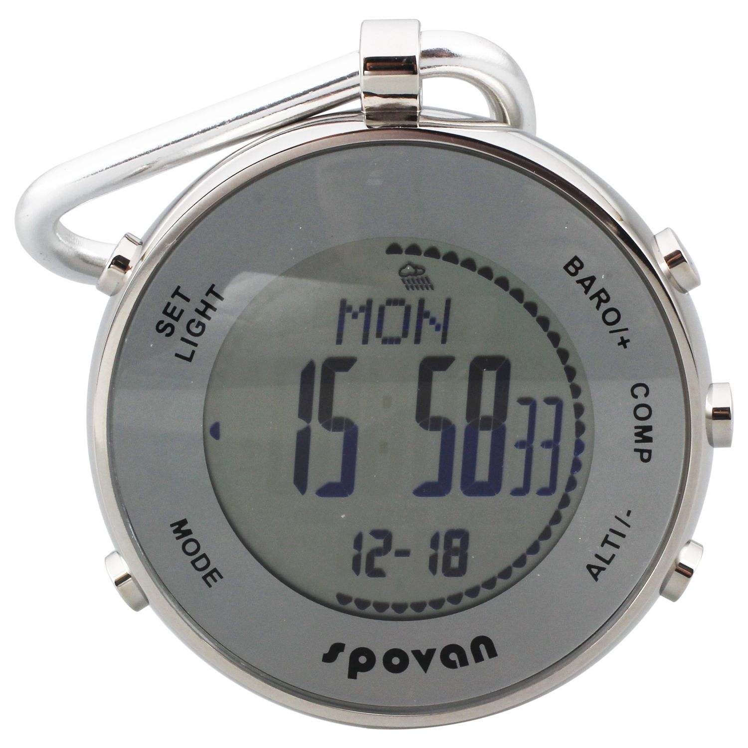 spovan White Multifunctional Outdoor Sport Pocket Watch with Altimeter/Barometer/Thermometer/Weather Forecast/Stopwatch/Compas