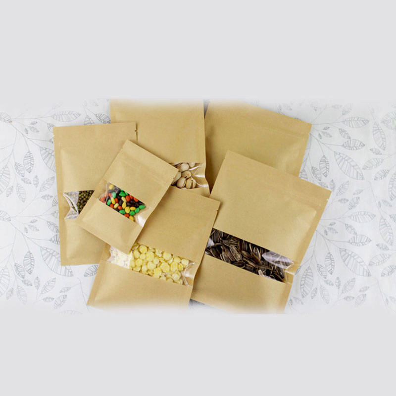 50pcs Flat Kraft Paper Bags For Gift Bag Wedding/Candy/Party/Food Window Not Stand Up Kraft Paper Bag With Zipper Packing Bags