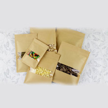 50pcs Flat Kraft Paper Bags For Gift Bag Wedding/Candy/Party/Food Window Not Stand Up With Zipper Packing
