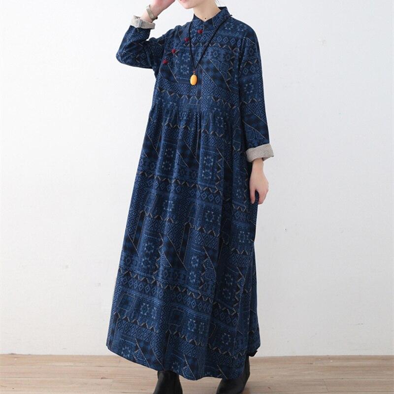 Johnature 2019 printemps femmes coton linge robes nouveau Vintage lâche grande taille imprimé col montant irrégularité robes longues-in Robes from Mode Femme et Accessoires    2