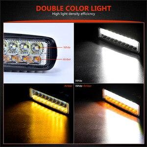 Image 3 - כפול צבע 6 18W Slim LED אור בר לבן אמבר 12V 24V פנסי קרן עבודת אור עבור UAZ 4x4 רכב Moto טרקטורונים UTV DRL offroad