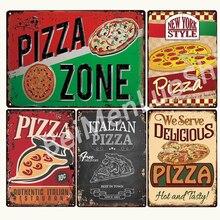 ITALIENISCHEN PIZZA ZONE Metal Zeichen Bar Wand Dekoration Zinn Zeichen Vintage Metall Wohnkultur Plaques kunst Poster 20x30 cm поло print bar pizza