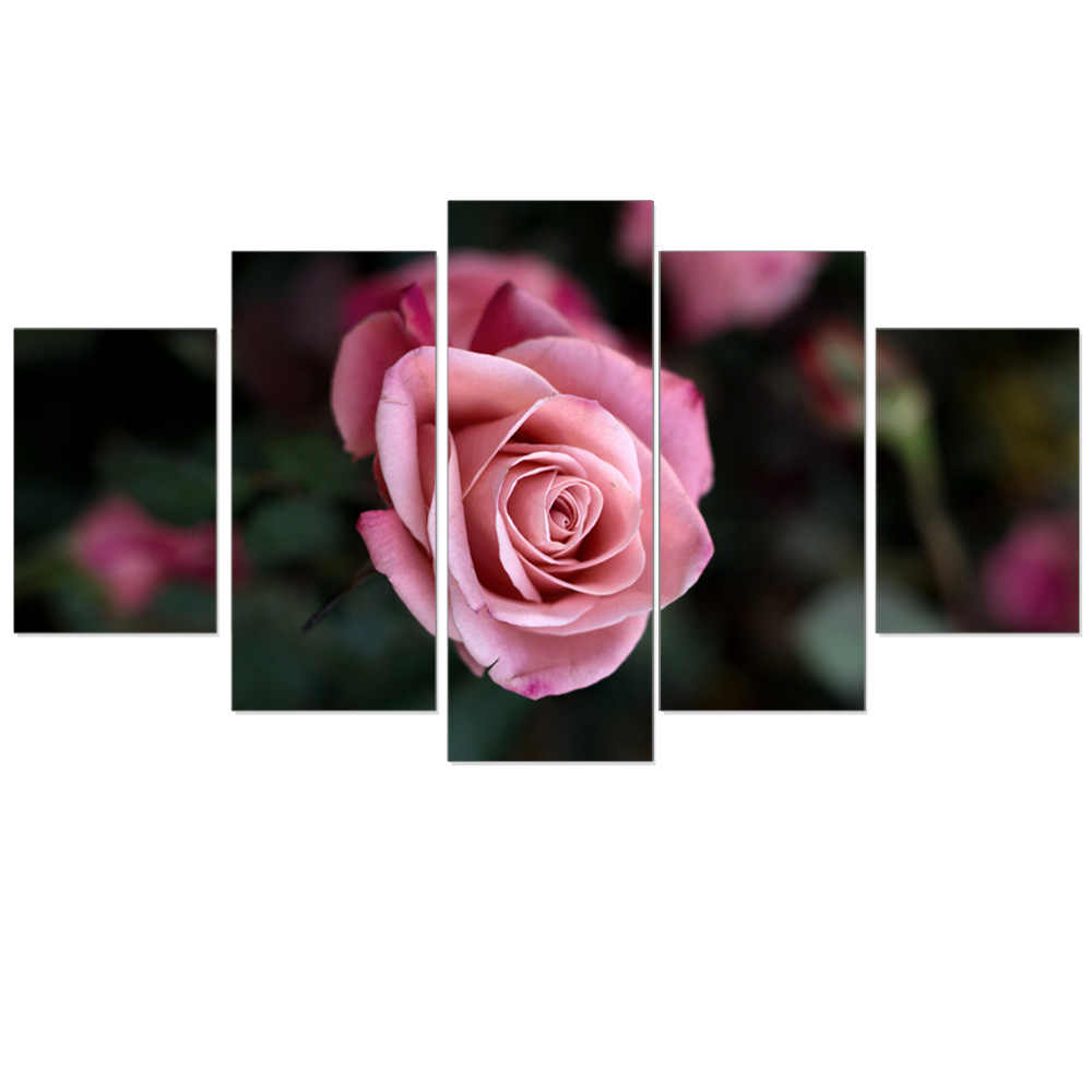 Modular Oil Painting Unframed A Pink Rose Flowers Art Print Poster HD Canvas Picture Wall Sticker Home Decoration for Room 5pcs