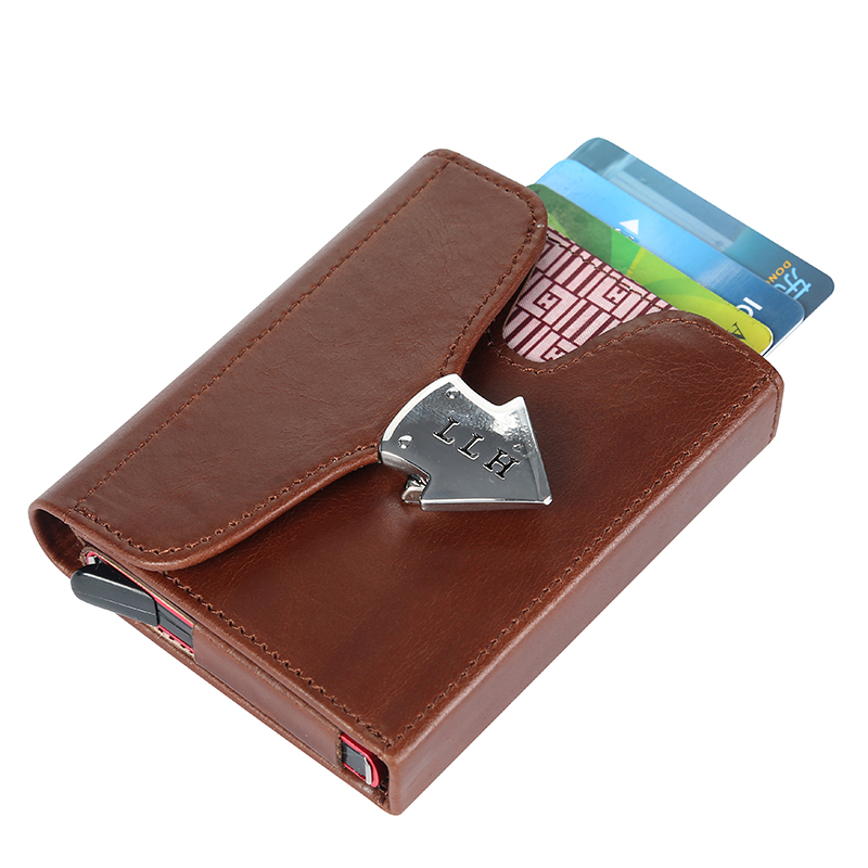 Men Small Wallet Automatic Pop up Credit Card Case Protector Mini Magic Wallet Rfid Blocking Business Leather ID Cash purse genuine leather men wallet cash clip small male purse nfc blocking card holder anti scan credit card rfid protection porte carte