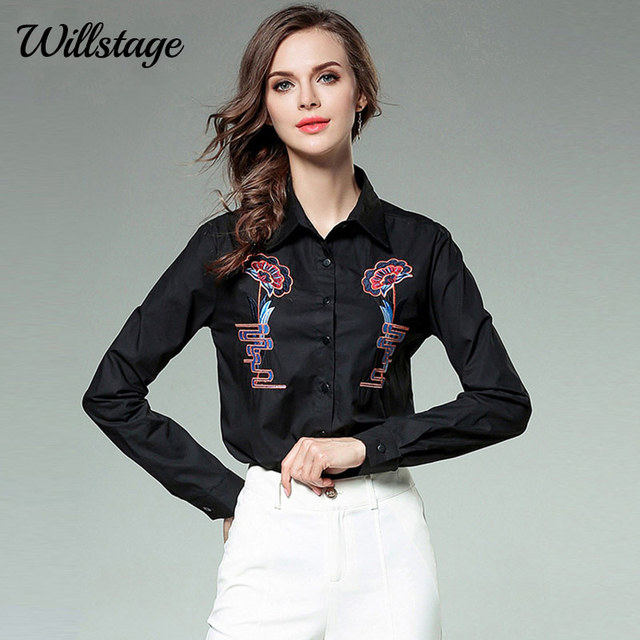 96afd50b74e Willstage Black Shirt Women Floral Printed Embroidery Office Ladies White  Blouse Turn-Down Long Sleeve Single-Breast Spring 2018