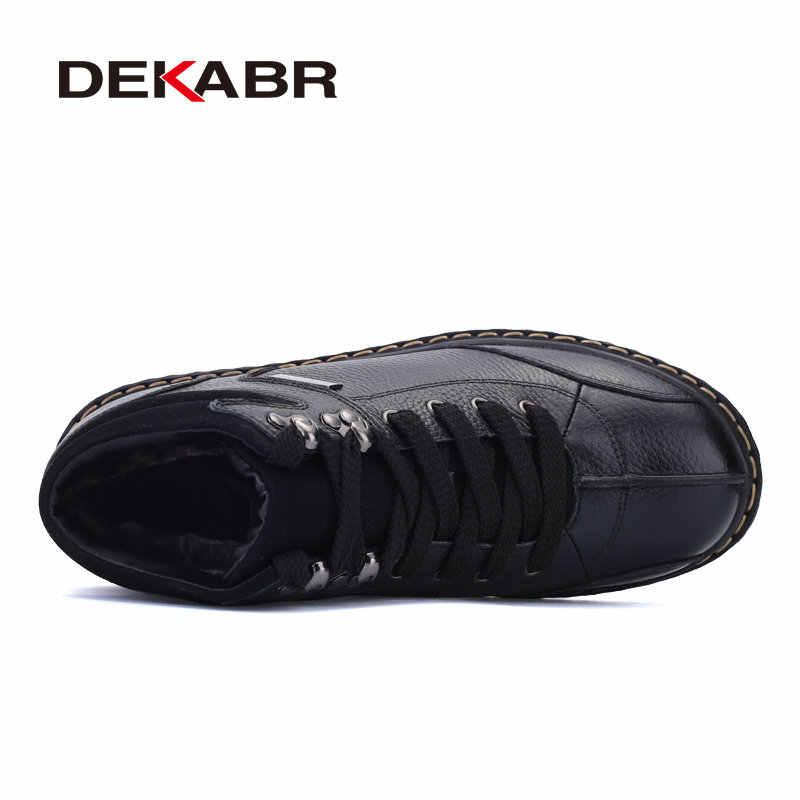 DEKABR hakiki deri kar botları erkekler için yeni kış su geçirmez ayakkabı kısa peluş lüks marka çalışma erkekler çizmeler artı boyutu 37 ~ 47