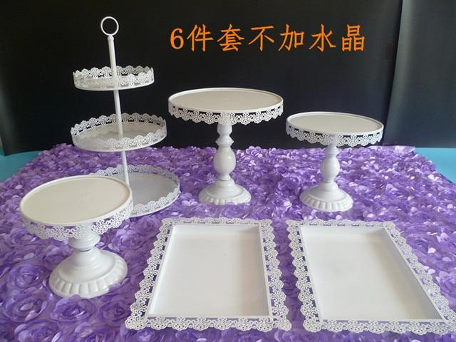 white color 6pcs/set wedding party cake plate set. party cake decoration. cake & white color 6pcs/set wedding party cake plate set. party cake ...
