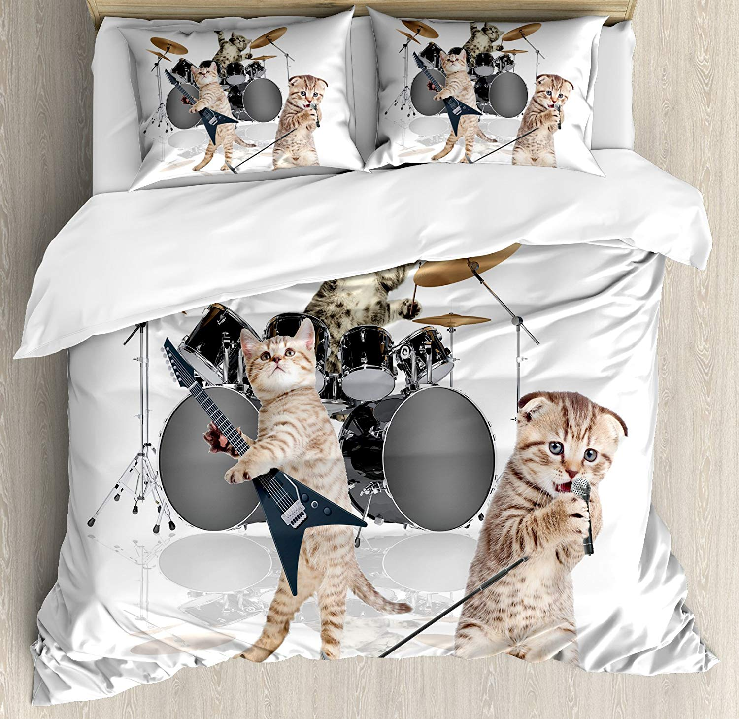 Animal Decor Duvet Cover Set Cool Fancy Hard Cute Rocker Band Kittens Singer Guitarist Cats Print 3/4pcs Bedding SetAnimal Decor Duvet Cover Set Cool Fancy Hard Cute Rocker Band Kittens Singer Guitarist Cats Print 3/4pcs Bedding Set