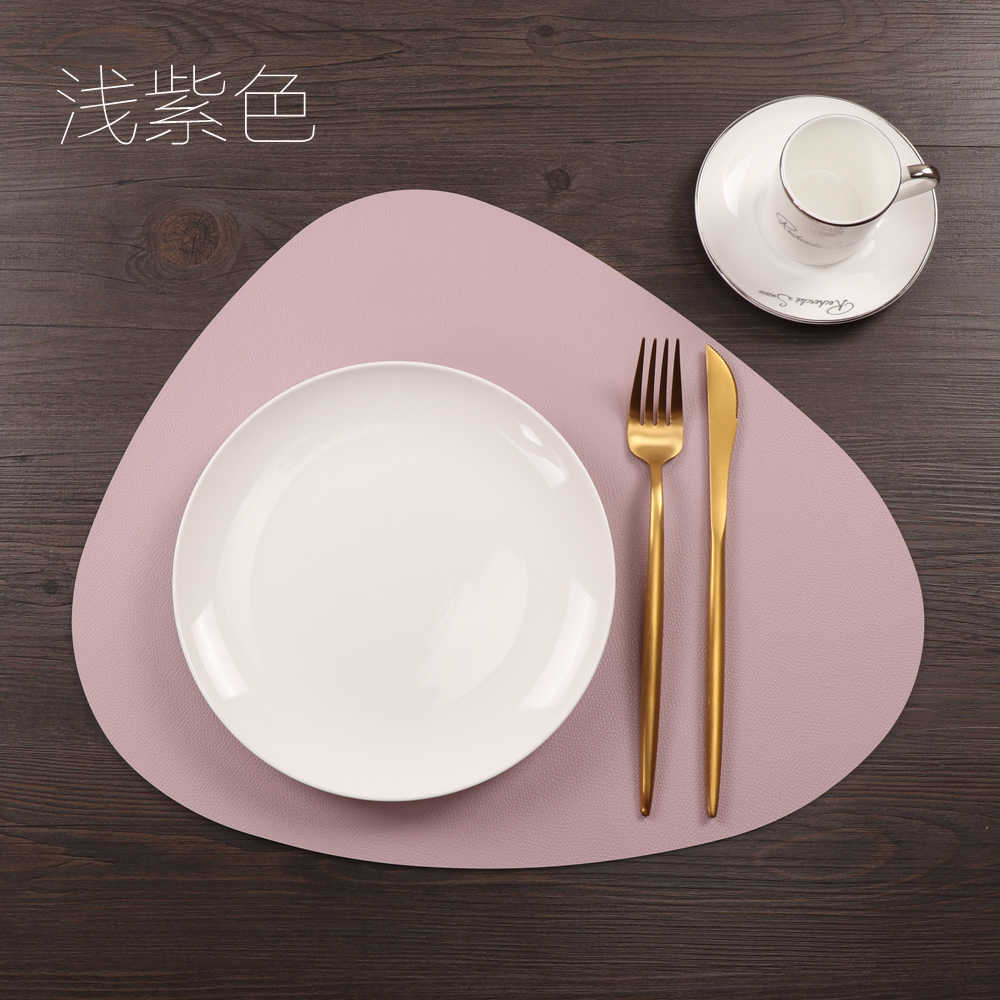 Nordic PU Leather Chic Tableware Pad Placemat Waterproof Non-Slip Heat Insulation Table Mat Creative Bowl Mat Bowl Coaster