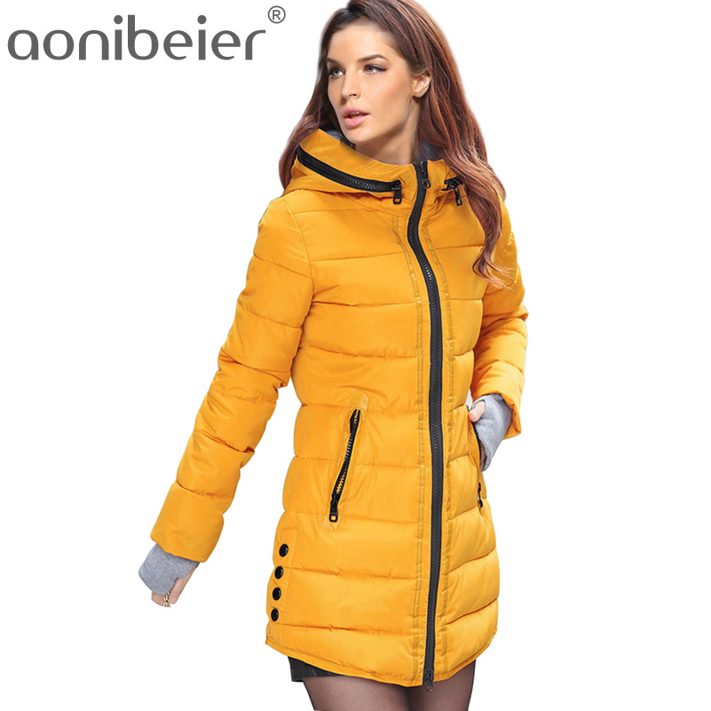 Aonibeier Long Winter Overcoat Fashion Warm Down Cotton Padded Jacket Women Parkas Casual Hooded Jacket Zipper Slim Outwear 2016 winter korean star style fashion long down padded jacket women slim hooded coat with big pocket cotton warm parkas ja014 page 8