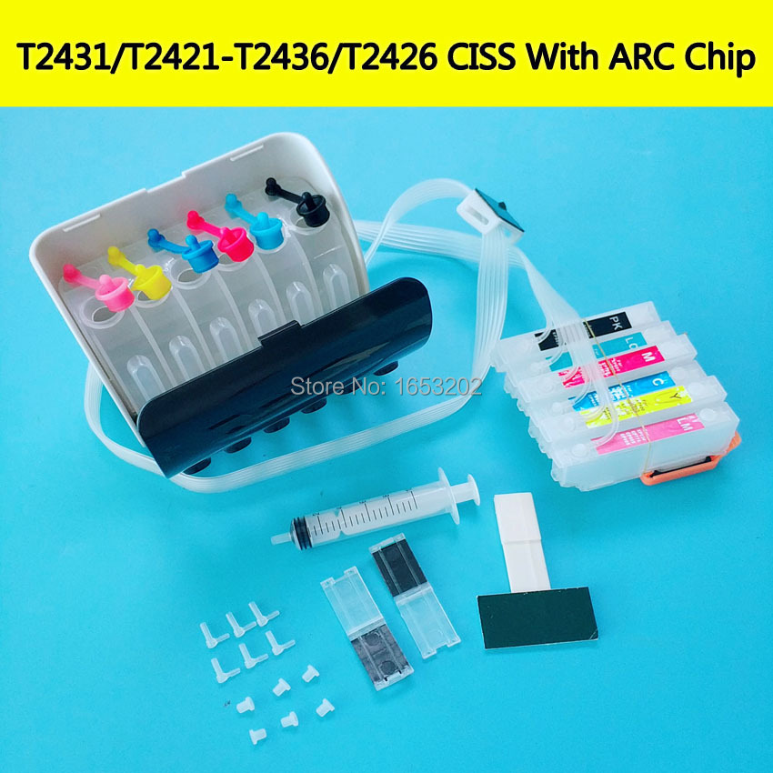 T2431XL XP-760 XP-860 Bulk Ink Ciss System With Auto Reset Chip For Epson XP-750 XP-850 XP-950 XP-960 XP-55 Printer 243XL BMKJ t1711 refillable ink cartridge for epson expression home xp 103 xp 203 xp 207 xp 313 xp 413 printer ink with auto reset chip