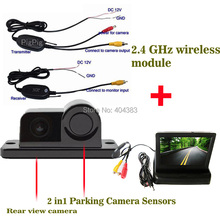 WIRELESS Sensor Backup Radar With Rear View Camera + 4.3 inch LCD Car Rearview / foldable Mirror Monitor Video Parking