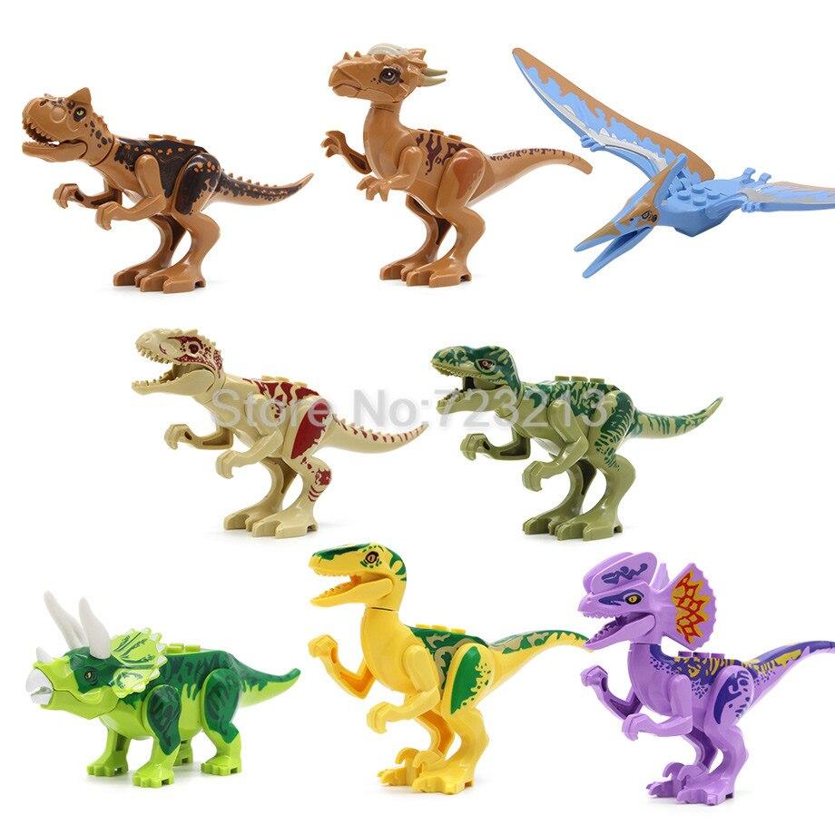 8 pz/lotto Jurrassic Del Mondo Legoingly Jurassic Dinosauro Figure Set Per I Bambini Animale Building Blocks Imposta Giocattoli di Modello per
