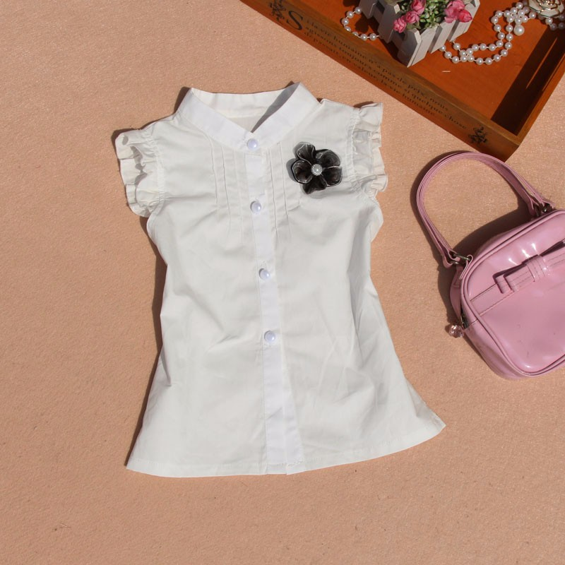173333e69a6 2018 Summer 2-16Y Baby Girls White Blouse Clothes Children Flower Cotton  Sleeveless Shirt School