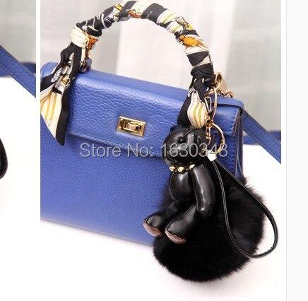 Furry Keychain Leather Black Bear Genuine Fox Fur Rivet Cute Bag Charms Women Handbag Purse Pompom In Key Chains From Jewelry