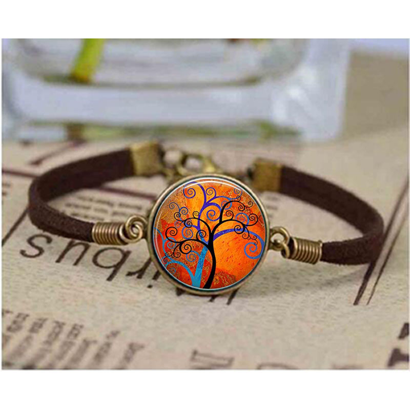 Spiral Tree Art bracelet Spiral Tree Art Cabochon Glass Keyring Blue and Orange Tree Modern Art Colorful Tree bracelets Bangle