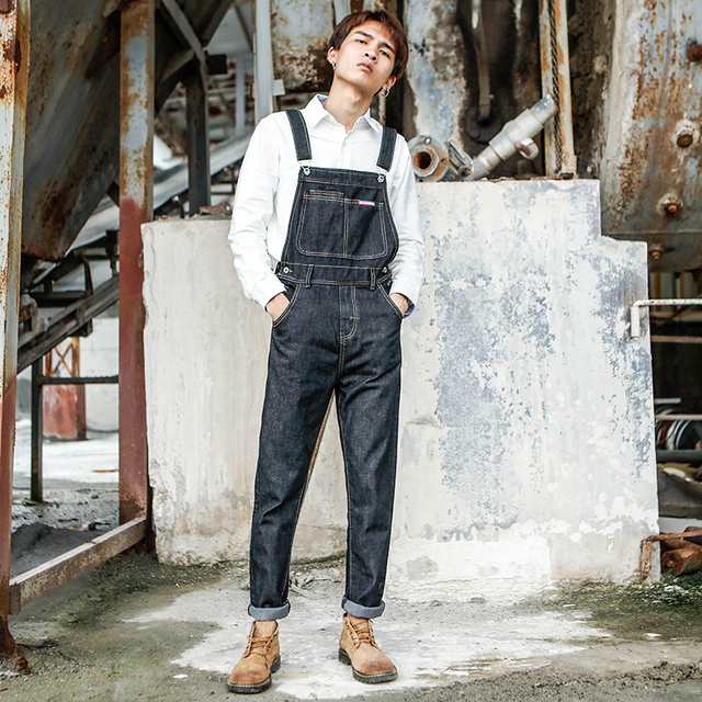 2019 Spring and Autumn New trend Conjoined Denim Overalls Men's Korean version of the Self-cultivation Wild feet pants Size 5XL