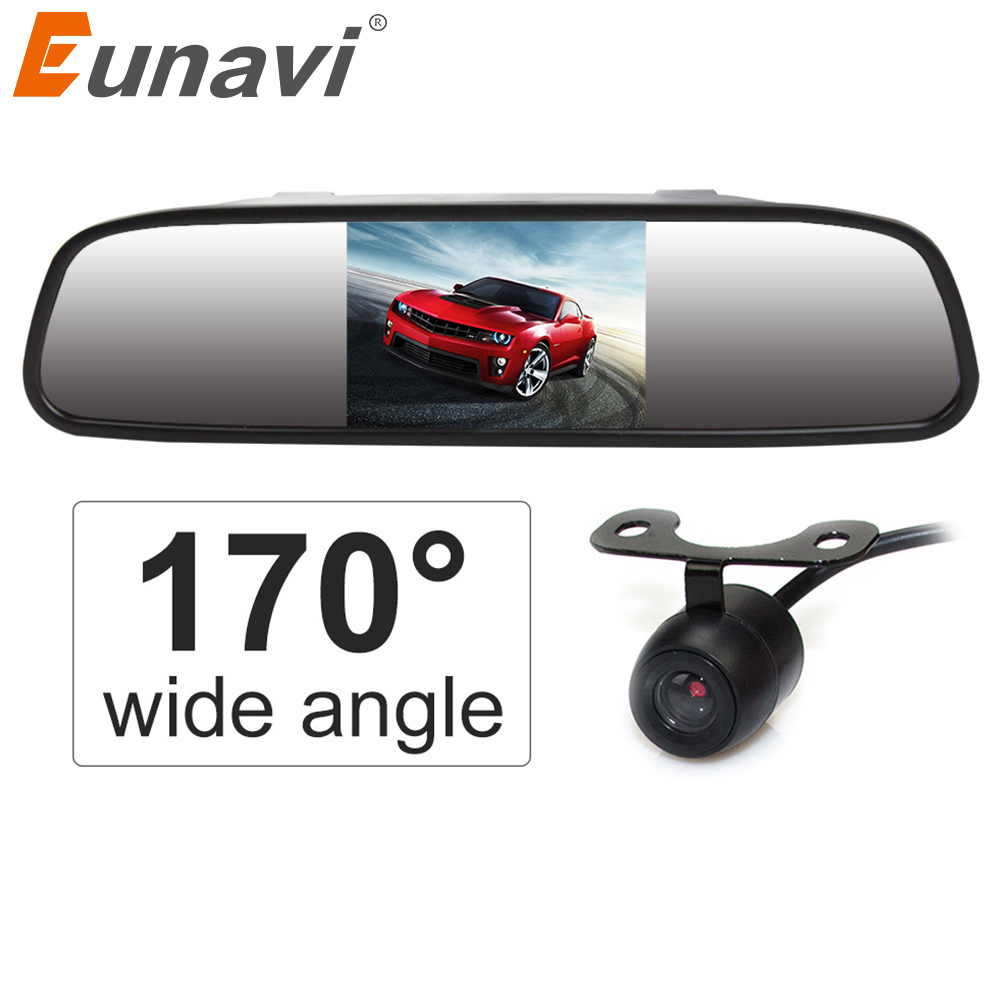 Eunavi HD Video Auto Parking Monitor, LED Night Vision Reversing CCD Car Rear View Camera With 4.3'' Car Rearview Mirror Monitor topbox car rear view camera 8 led night vision reversing auto parking monitor ccd waterproof 170 degree hd video