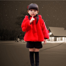 Fashion faux fur hooded teenager winter kids girls winter coats and jackets 2016