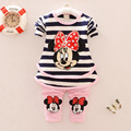 2017 new baby girls Clothing Sets Fashion spring/Autumn 2pcs Suit Stripe cartoon Minnie Mouse cute Clothing Sets Shirt +Pants