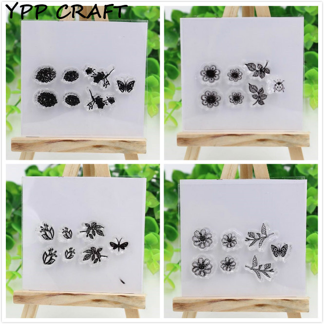YPP CRAFT Little Florals Transparent Clear Silicone Stamp/Seal for DIY scrapbooking/photo album Decorative clear stamp sheets new arrival lovely toy designsilicone transparent clear stamp seal for diy scrapbooking photo album stamp craft ll 319